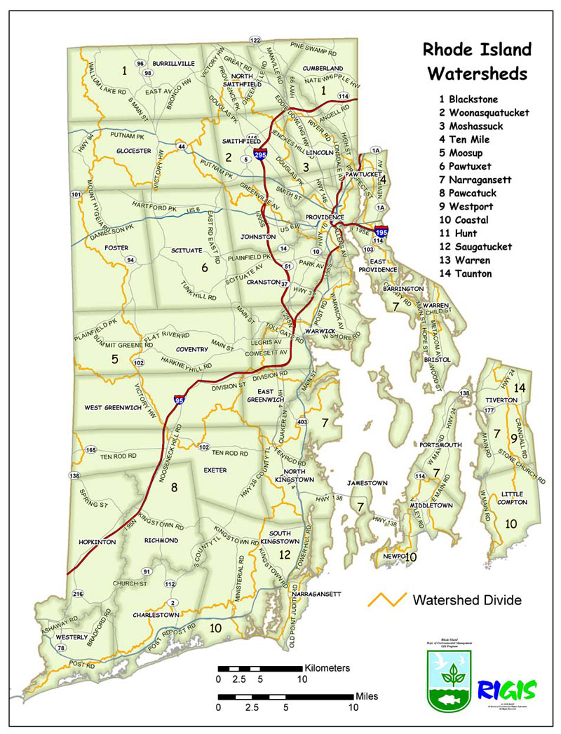 RIPDES Storm Water Program RegulationApplication Page - Map of ri