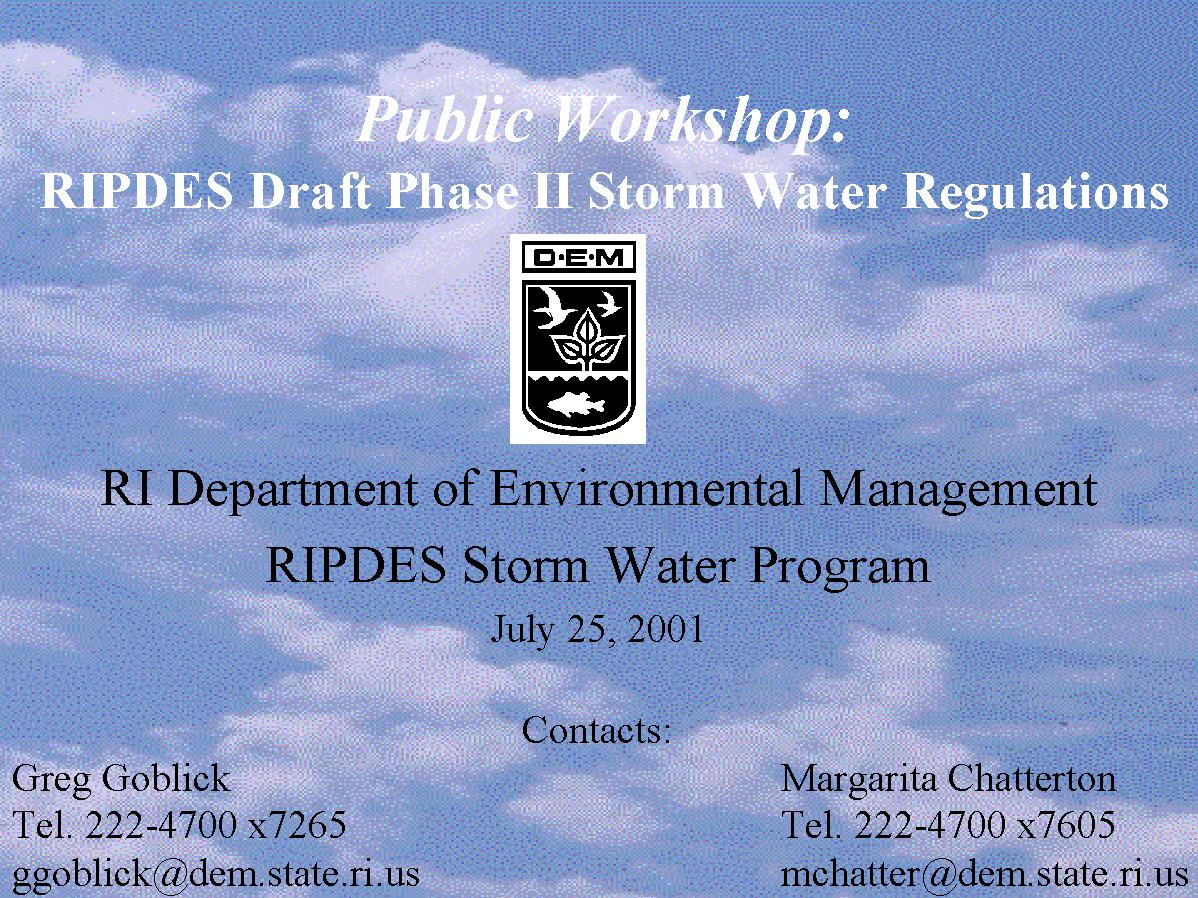 Ripdes Storm Water Program Presentations Page